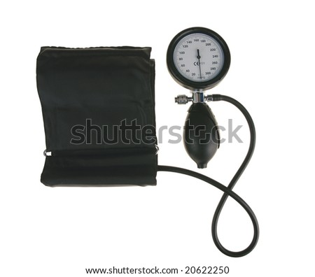 Black sphygmomanometer, medical tool isolated on white background(with clipping path).