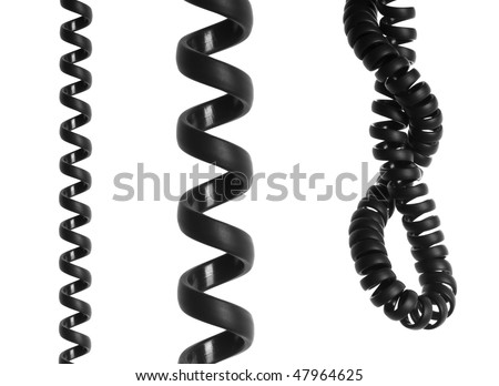 Black spiral telephone cable isolated on white background