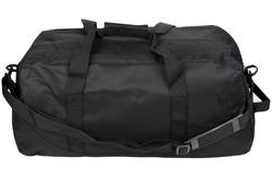 Black sport bag isolated. Travel bag.