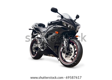 black sport bike on a white background
