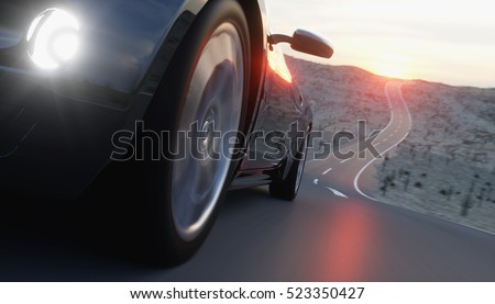 Black sport car on road, highway. Very fast driving. 3d rendering.
