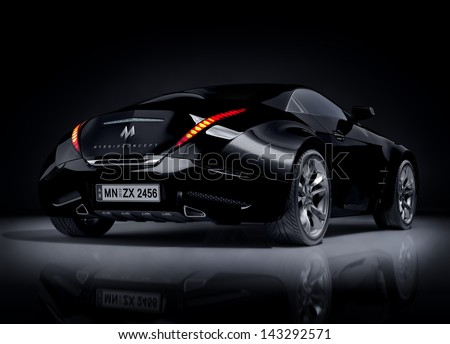 Black sports car Non-branded car design