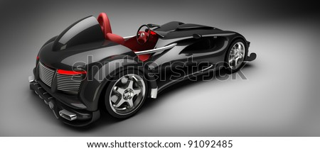 Black Sports car road-star 3d render (No trademark issues as the car is my own design) - stock photo