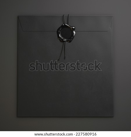 Black square envelope  with wax seal