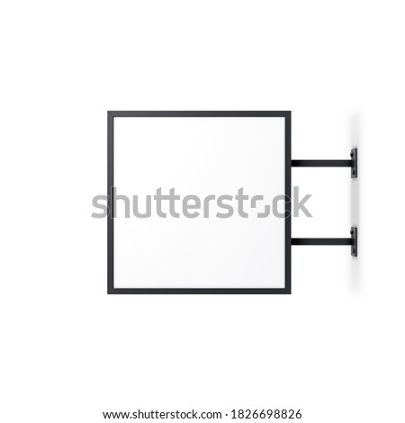 Black Square Signboard Mockup, store signage lightbox template mock up isolated on white, 3d rendering Stock photo ©
