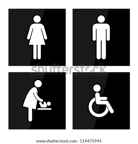 Black Square Toilet Sign with Black Background, Man Sign, Women Sign, Baby Changing Sign, Handicap Sign