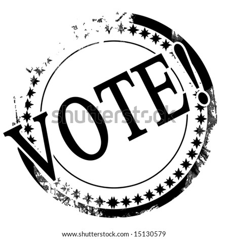 black stamp with vote written on it