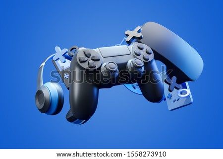 Black standard videogame controller, headphones and game console on a blue gradient background. 3d rendering.