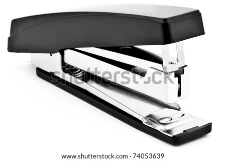 black stapler isolated on white