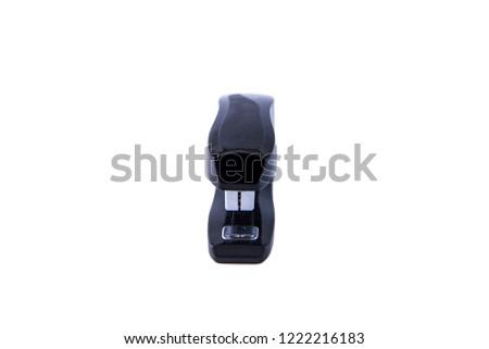Black stapler isolated on white background