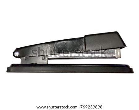 Black stapler profile isolated on a white background