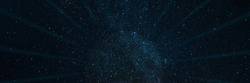 Black star hole with rays on a starry space panoramic sci-fi background. Elements of this image furnished by NASA.