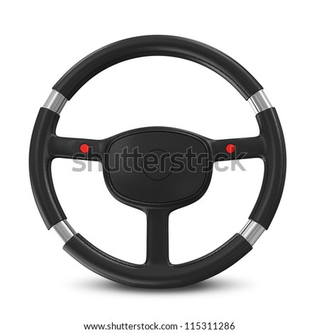 Black Steering Wheel on white background #115311286