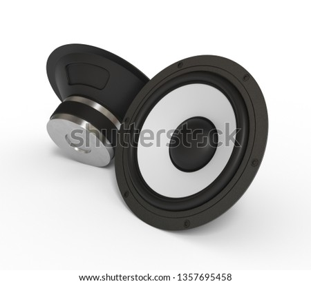 black stereo dynamic on white background. sound equipment. audio appliances. 3d rendering