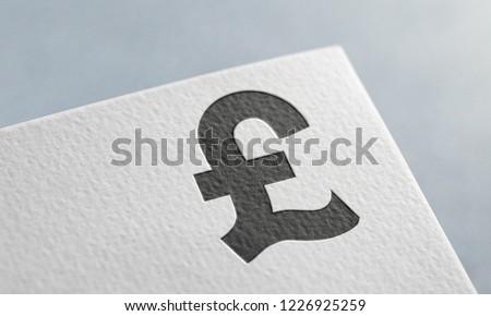 Black Sterling Money 3D Illustration Symbol Write On The Paper. Sterling Money Logo On The Paper. Black Sterling Money Logo. 3D Rendering.