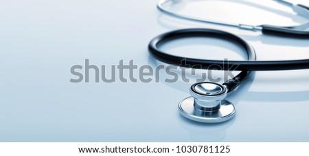 Black stethoscope. Healthcare.