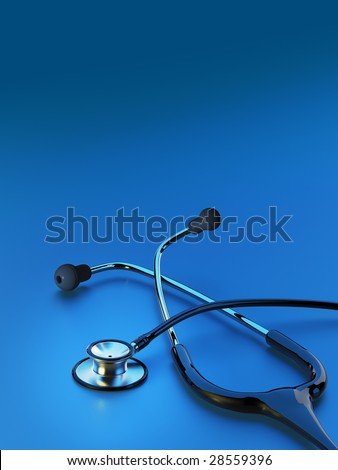 Black stethoscope on deep blue background with highlight. Copy space.