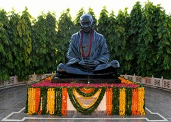 Black stone statue of the Father Of Nation Mahatma Gandhi at a park in Jaipur, Rajasthan.