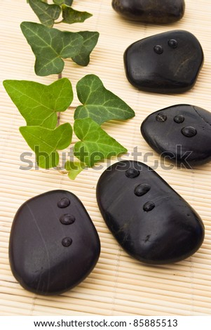 black stones and ivy on bamboo board