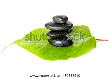 black stones on the leaf. isolated over white.