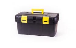 Black storage box, plastic container.