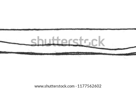 Black string, rope isolated on white background texture, top view