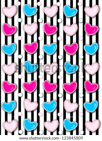 Black stripe background has 3D hearts surrounded by tiny, cream colored pearls.  White polka dots are outlined in blue and pink.