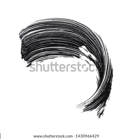 Black strokes and texture mascara or acrylic on a white background
