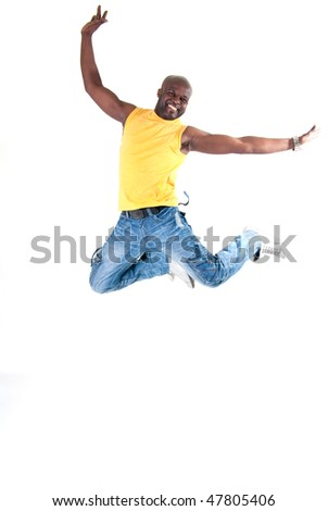 Black strong man jumping on white background. - stock photo