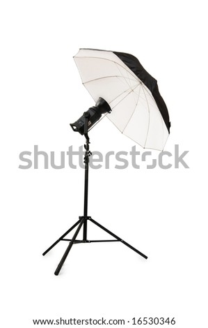 Black studio umbrella isolated on the white - stock photo