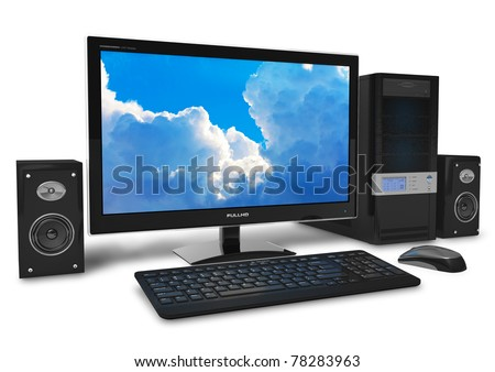 Black stylish desktop PC isolated on white background