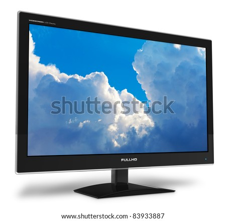 Black stylish glossy widescreen TFT display with blue sky and clouds isolated on white background