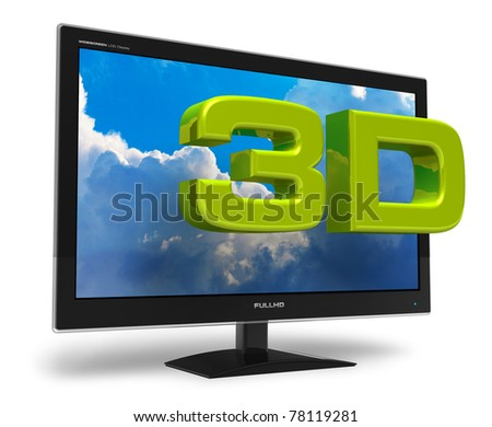 Black stylish glossy widescreen TFT display with blue sky and 3D text behind it isolated on white background