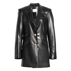 Black Stylish Leather Blazer Isolated on White Background. Modern Women's Trench Coat on Buttons with Spread Collar and Pockets. Warm Outwear Windproof Fabric. Best Outdoor Clothing for Hiking Travel