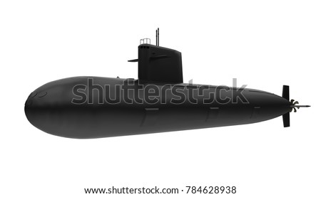 Black Submarine Isolated. 3D rendering