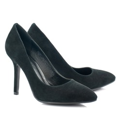 Black suede high heel women shoes isolated on white background.