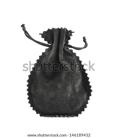 Black suede pouch isolated over white background