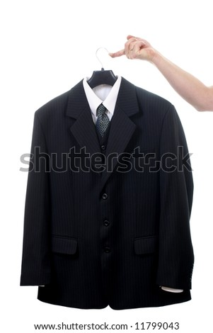 Black suit on hanger isolated on white background