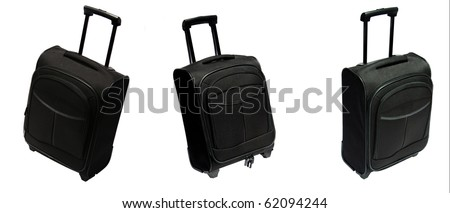 Black suitcase in different settings over white background