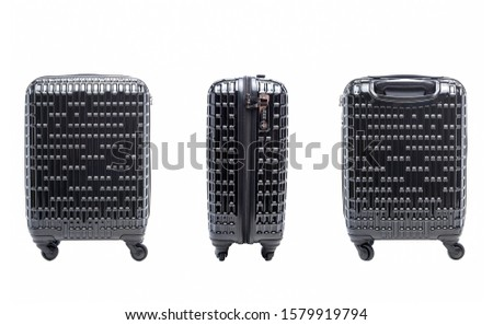 Black suitcase on wheels isolated on white background. Black suitcases for travel. Black suitcases