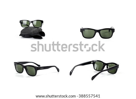 black sunglasses isolated on white background #388557541