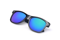 Black sunglasses with Multicolor Mirror Lensisolated on white background