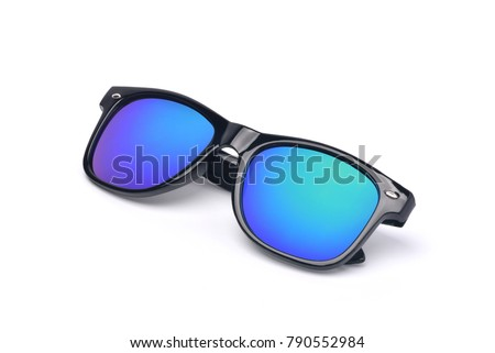Black sunglasses with Multicolor Mirror Lens