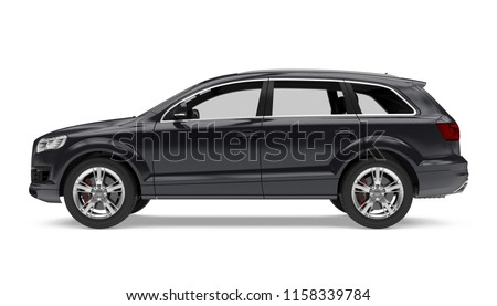 Black SUV Car Isolated (side view). 3D rendering