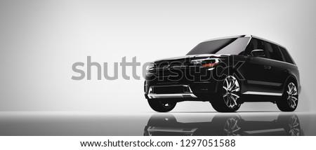 Black SUV car on white background. Brandless vehicle, modern automobile design. 3D illustration.