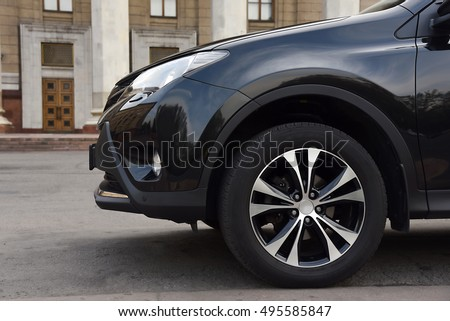 Black suv vehicle car auto detail wheel front #495585847