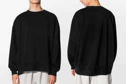 Black sweater for winter teen's apparel shoot with design space