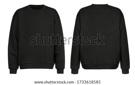 Black sweater template. Sweatshirt long sleeve with clipping path, hoody for design mockup for print, isolated on white background.
