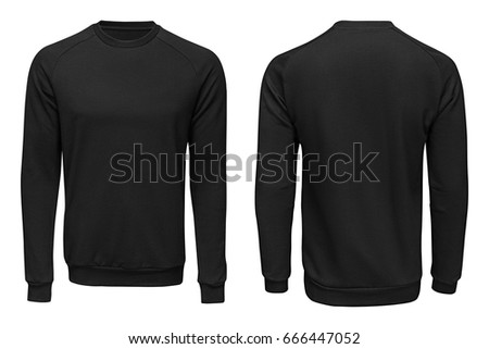 Black sweatshirt,, clothes on isolated white background.