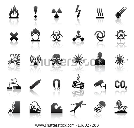 black symbols danger icons. Eps version also available in my image gallery